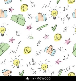 Hand drawn business seamless pattern with financial doodle sketch elements
