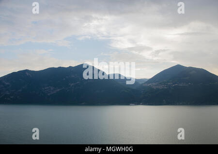Lago di Iseo, Italy Lombardy. Lake panorama from ferry. Italian landscape. Lake Iseo, Italy. - Stock Photo