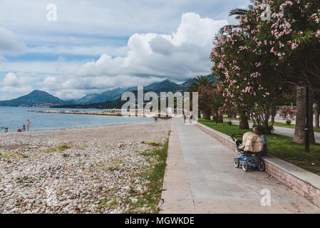 New Bar town, Montenegro - June 5th, 2016. Adriatic sea coast and tourist promenade by cloudy day. Blooming palm alley, mountains and cloudy sky over  - Stock Photo