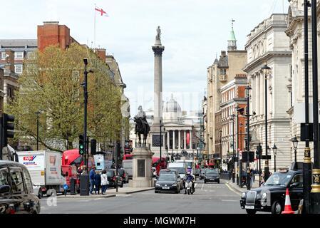 View of Whitehall looking towards Trafalgar Square, Central London England UK - Stock Photo