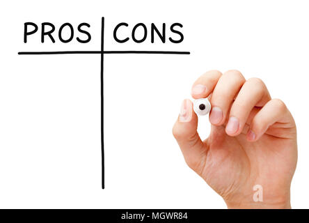 Hand writing Pros and Cons list with black marker on transparent wipe board isolated on white. - Stock Photo