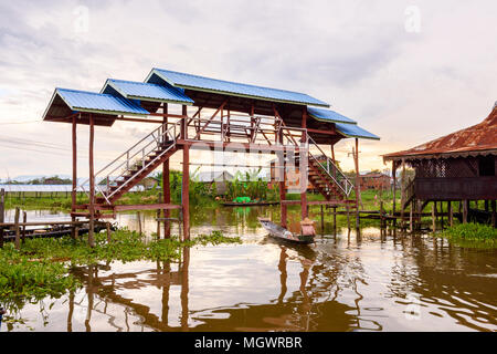 Inpawkhon village over the Inle Sap,a freshwater lake in the Nyaungshwe Township of Taunggyi District of Shan State, Myanmar - Stock Photo
