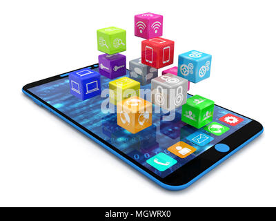 3d illustration of Smart phone with social media icons isolated in white background. - Stock Photo