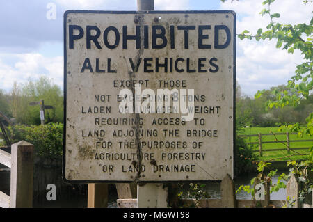 A pre-Warboys Prohibition sign by the bridge over the River Stour at Flatford, Suffolk, England - Stock Photo