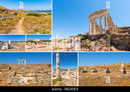 Collage of images from Delos island. The most big archaeological site of Cyclades archipelago. Greece. - Stock Photo