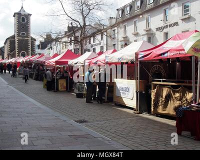 Keswick Market with the Moot Hall, Lake District National Park, Keswick, Cumbria, United Kingdom - Stock Photo