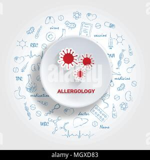 Icons For Medical Specialties. Allergology Concept. Vector Illustration With Hand Drawn Medicine Doodle. - Stock Photo