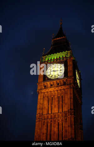 The Elizabeth Tower, known as Big Ben, illuminated in the evening - Stock Photo