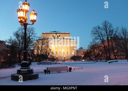 Alexandrinsky Theatre, or Russian State Pushkin Academy Drama Theater in St. Petersburg, Russia, in a winter morning - Stock Photo
