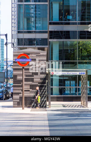 London, United Kingdom - June 11, 2015: An overground Elevator to the Canary Wharf underground station - Stock Photo