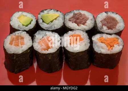 Traditional variety of Japanese sushi maki - Stock Photo