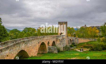 stone bridge in Frias Spain - Stock Photo