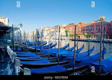 Palaces on Grand Canal Venice, Italy. Vibrant color summer shot - Stock Photo