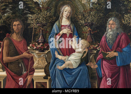 Sandro Botticelli (1445-1510), The Virgin and Child Enthroned (detail, with saints John the Baptist and John the Evangelist) aka Madonna Bardi or Bard