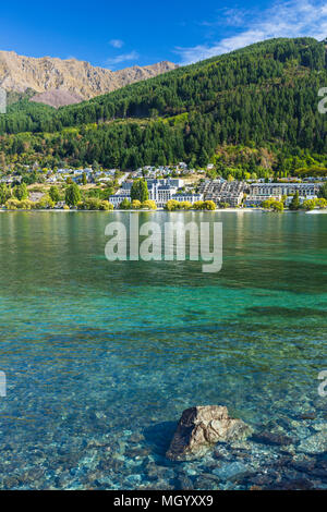 Queenstown South Island new zealand view of hotels and businesses on lake esplanade queenstown the lakeside of Lake wakatipu queenstown nz