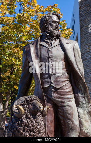 Statue of William Gilbert Rees with a sheep an explorer, surveyor, and early settler in Central Otago Rees Street  queenstown South Island New Zealand - Stock Photo
