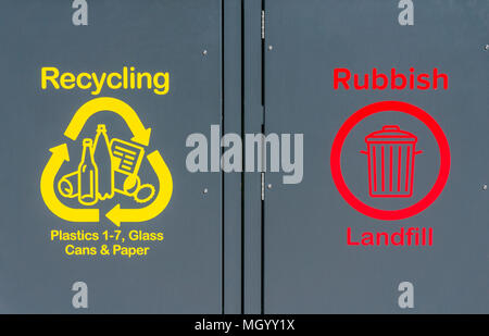 recycling bins for plastic recycling plastic glass recycling glass cans recycling cans paper recycling paper rubbish landfill recycling bin trash can - Stock Photo