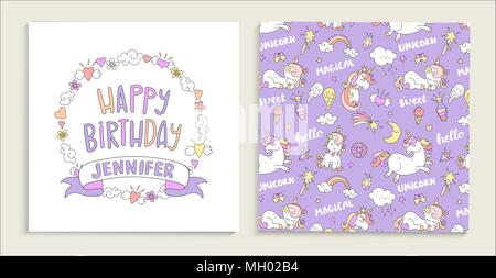 Greeting card for happy birthday with floral frame. Vector seamless pattern with unicorns, donuts, rainbow, hearts and other elements. - Stock Photo