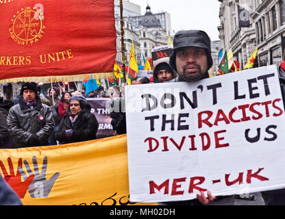 Stand up against Racism, International demonstration in London to mark UN anti-racism day. March 17 2018 - Stock Photo