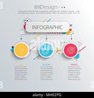 Presentation business infographic template with 3 options and abstract geometric pattern. Vector illustration. - Stock Photo