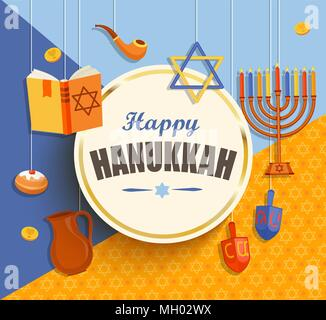 Happy hanukkah card with golden frame on geometric background with different hanukkah symbols. Vector illustration. - Stock Photo