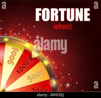Symbol of spinning fortune wheel in realistic style. Shiny lucky roulette for your design on red glowing background with place for your text. Vector illustration. - Stock Photo