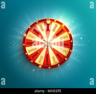 Symbol of spinning fortune wheel in realistic style. Shiny lucky roulette for your design on blue glowing background. Vector illustration. - Stock Photo
