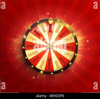 Symbol of spinning fortune wheel in realistic style. Shiny lucky roulette for your design on red glowing sunburst background. Vector illustration. - Stock Photo