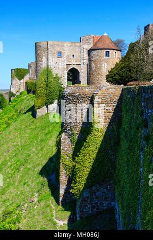 Dover castle, England. Medieval outer ivy covered walls and 13th century Peverell's gate - Stock Photo