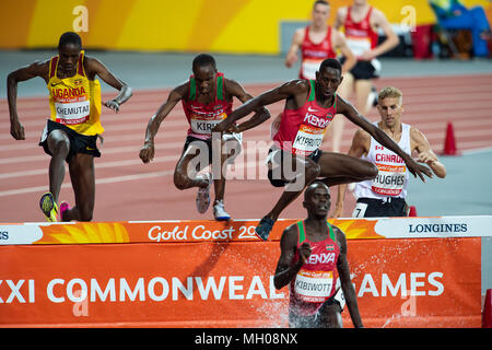 Men's 3000m Steeplechase Final-Commonwealth Games 2018 - Stock Photo