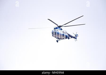 Novosibirsk, Russia - April 27, 2018: Mil Mi-8T Hip RF-28960 Police in the sky near Tolmachevo International Airport - Stock Photo