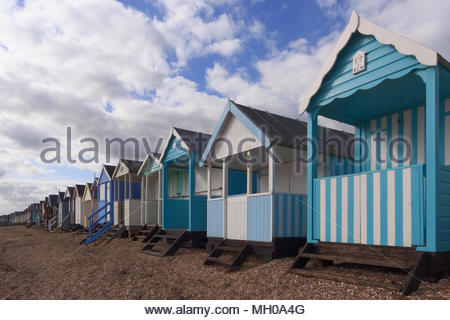 A row of beach huts in Thorpe Bay, Southend-On-Sea. - Stock Photo