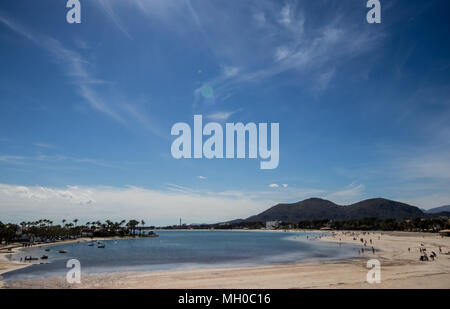 View of the sandy beach at the Bay of Alcudia, Port Alcudia, Majorca (Mallorca), Balearic Islands, Spain, Europe - Stock Photo