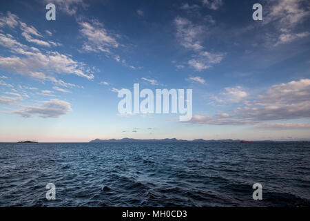 Seascape view across the Bay of Alcudia from Alcanada near Port Alcudia, Majorca (Mallorca), Balearic Islands, Spain, Europe - Stock Photo