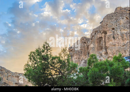 Ma'loula or Maaloula, a village in the Rif Dimashq Governorate in Syria. It's built into the rugged mountainside, at an altitude of more than 1500 met - Stock Photo