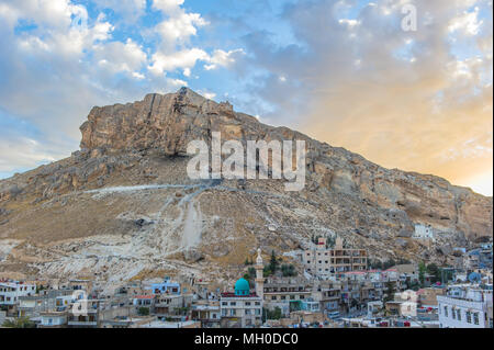 Ma'loula or Maaloula, a small Christian village in the Rif Dimashq Governorate in Syria. - Stock Photo