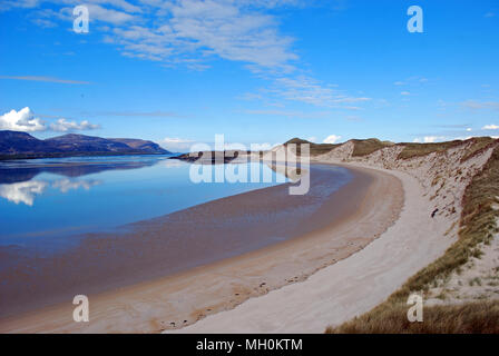 View of Ballinreavy Strand in Sheskinmore Nature Reserve, County Donegal, Ireland. - Stock Photo