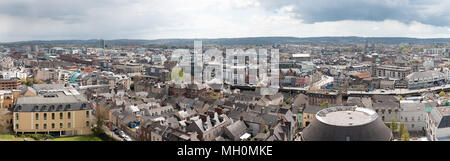 April 29th, 2018, Cork, Ireland - skyline of the city of Cork as seen from the Shandon Bells and Tower. - Stock Photo