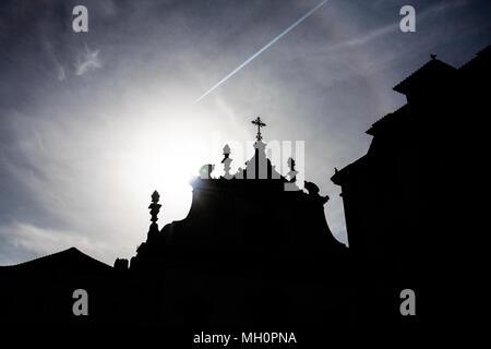 A view of Sao Domingo church in Largo de Sao Domingos in Lisbon, Portugal. silhouette summer - Stock Photo