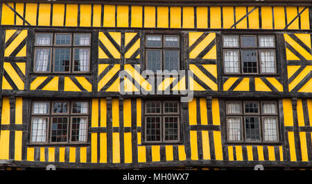 Victorian oak timbered Yellow building with leaded windows.  Ludlow Shropshire UK. April 2018 - Stock Photo