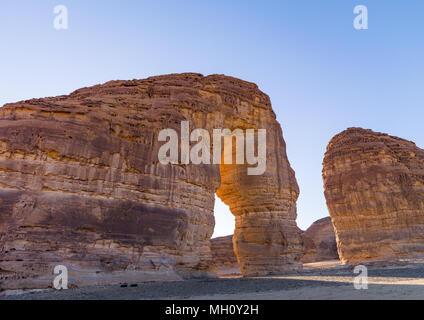 Elephant rock in madain saleh archaeologic site, Al Madinah Province, Al-Ula, Saudi Arabia - Stock Photo