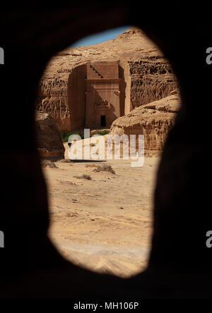 Nabataean tomb in madain saleh archaeologic site, Al Madinah Province, Al-Ula, Saudi Arabia - Stock Photo