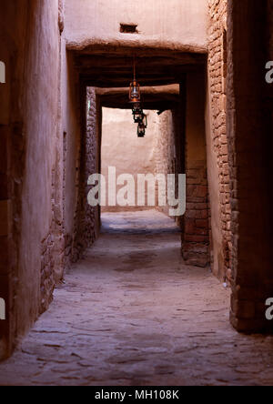 Alley in the old town, Al Madinah Province, Al-Ula, Saudi Arabia - Stock Photo