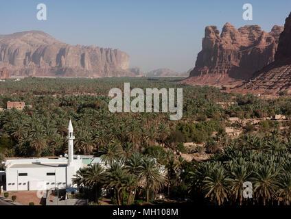 Elevated view of al-ula old town and oasis, Al Madinah Province, Al-Ula, Saudi Arabia - Stock Photo