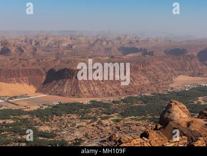 Elevated view of al-ula town and oasis, Al Madinah Province, Al-Ula, Saudi Arabia - Stock Photo