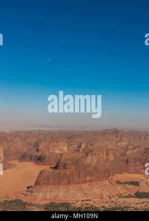 Elevated view of al-ula landscape, Al Madinah Province, Al-Ula, Saudi Arabia - Stock Photo