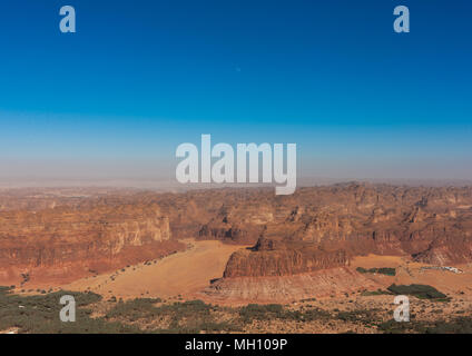 Elevated view of al-ula town and oasis, Al Madinah Province, Al-Ula, Saudi Arabia - Stock Photo