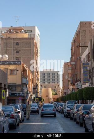 Road leading to al masmack palace in the city center, Riyadh Province, Riyadh, Saudi Arabia - Stock Photo