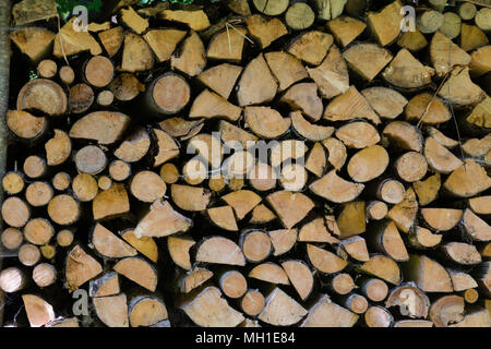 firewood stacked into huge pile - Stock Photo