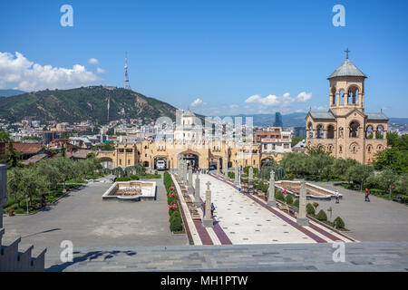 The territory of the Holy Trinity Cathedral commonly known as Sameba in Tbilisi, Georgia. - Stock Photo